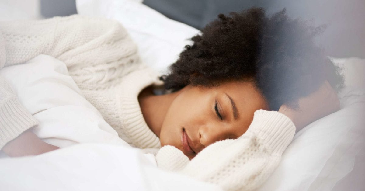 female patient sleeping soundly after sleep apnea treatment from Dr. Smitherman at Perspective Dental in Austin, TX